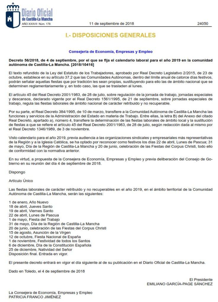 Calendario Laboral 2019 Ciudad Real.Calendario Laboral Castilla La Mancha 2019 Docm 11 Sep Spl Clm